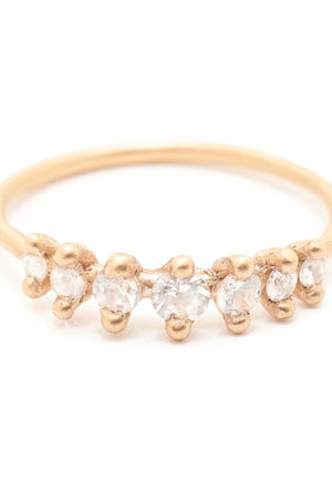 Valley Rose Meissa 14k Gold White Sapphire Ring