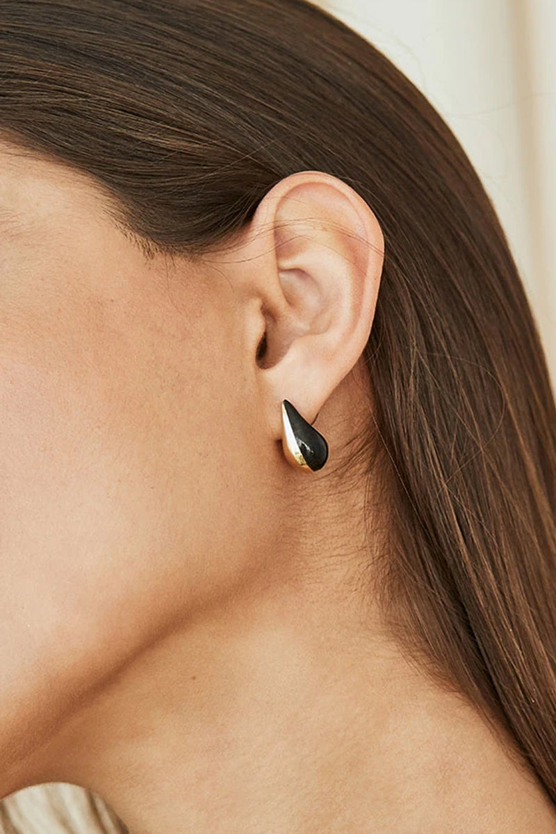 Soko Black Brass Nene Teardrop Hoop Earrings