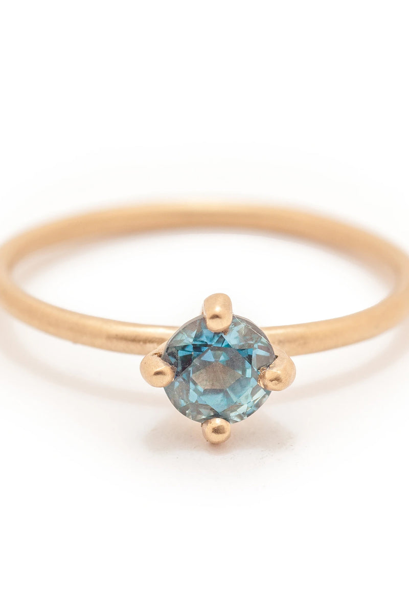 Valley Rose 14k Gold Atlantis #3 Solitaire Ring in Montana Sapphire