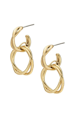 Soko Brass Double Hoop Nia Stud Earrings