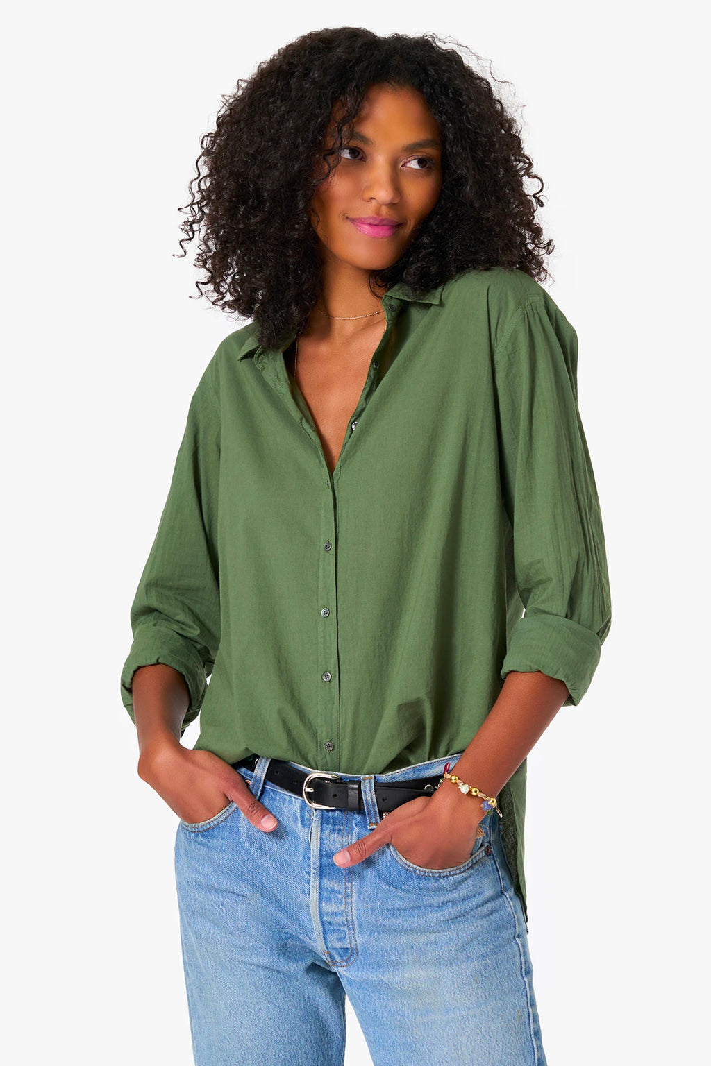 Xirena Cotton Poplin Beau Shirt in Olive Palm