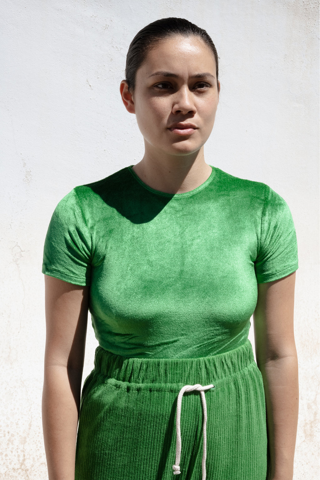 Base Range Omo Tee in Velour Fawn Green