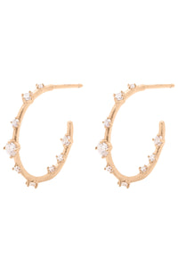 Valley Rose Orion's Belt Hoops in Yellow Gold & White Sapphire