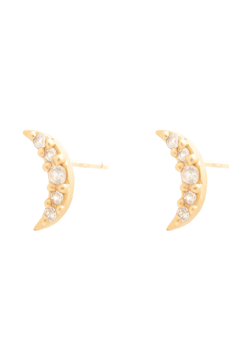 Valley Rose 14K Gold Luna Stud Earrings in White Sapphire