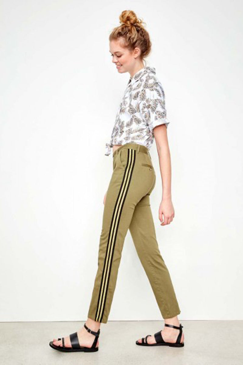 Reiko Chinos in Sandy Kaki with Black & Gold Stripe