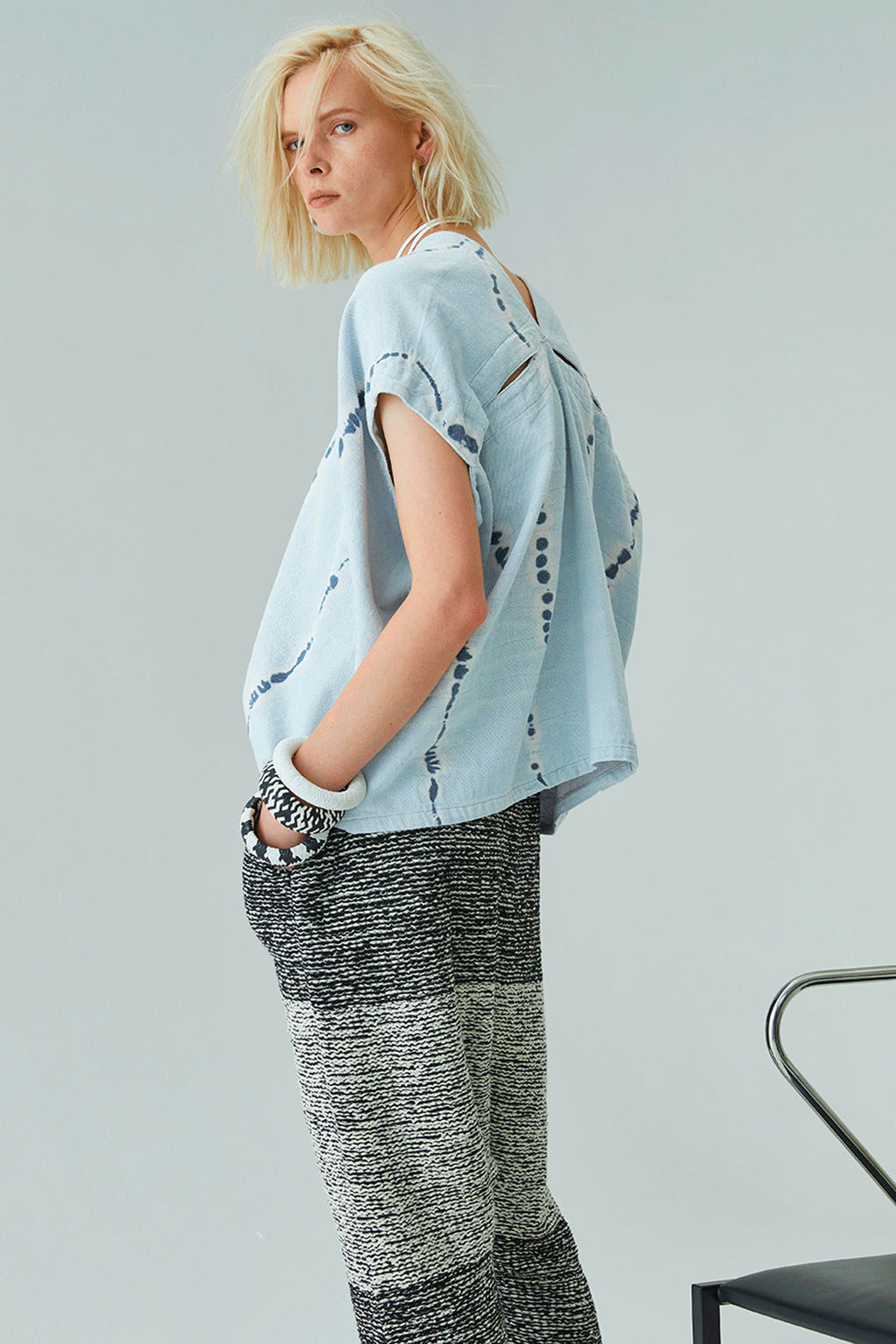 Atelier Delphine Celeste Top in Ice Wash Tie Dye