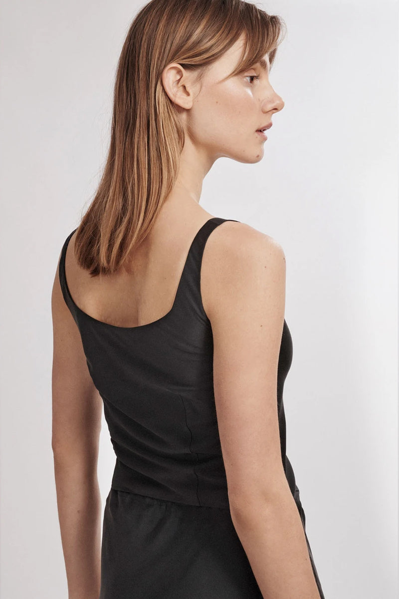 Silk Laundry Wide Neck Silk Top in Black
