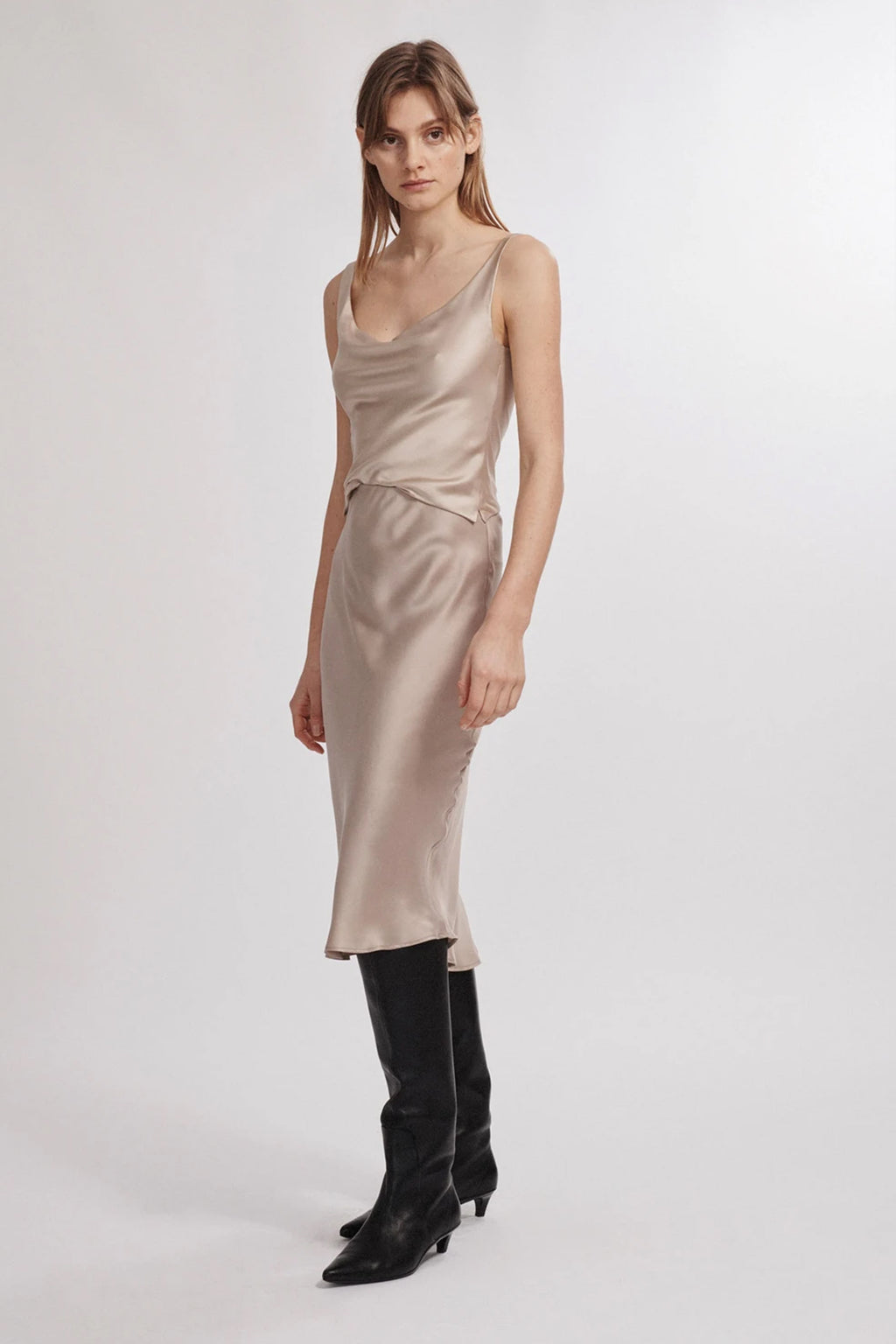 Silk Laundry Bias Cut Skirt in Aluminium