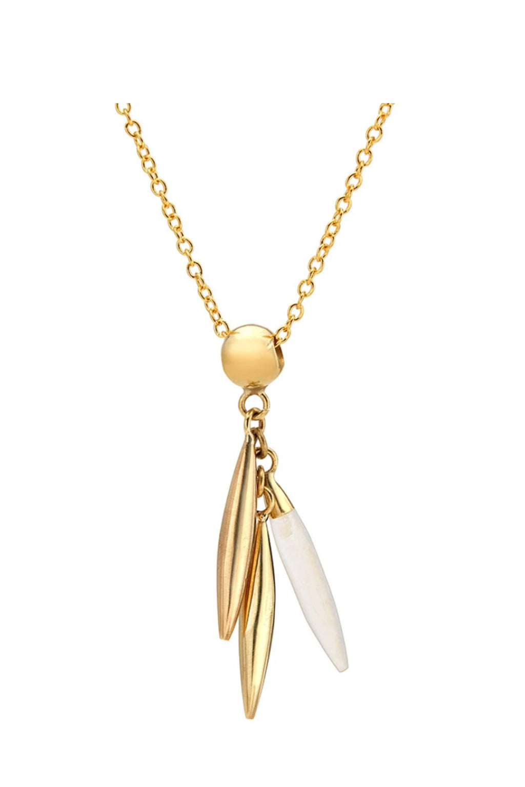 Soko Mini Quill Delicate Necklace in Gold/ White