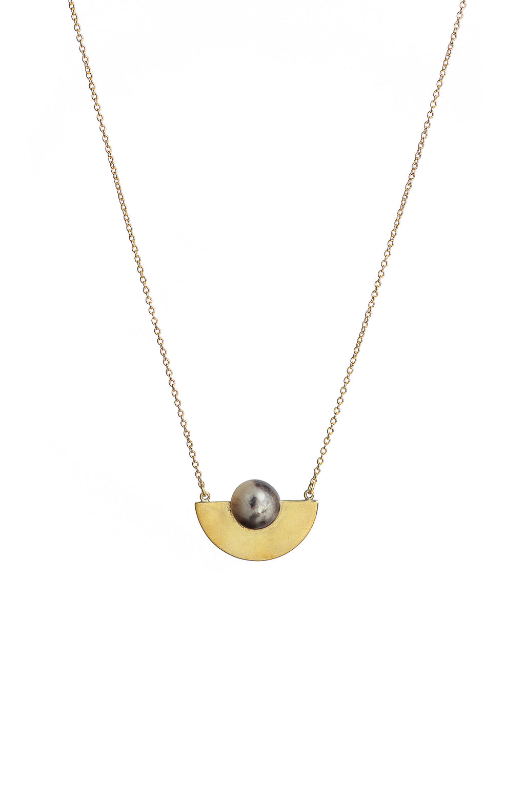 Soko Nusu Horn Delicate Necklace in Black