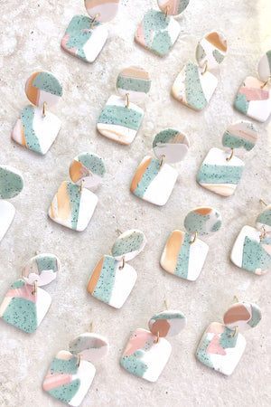 Elizaberry Mama Earrings in Mint and Nude Pastel Splash with Cream