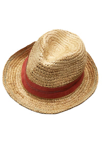 Lola Ehrlich Tarboush Bis Straw Hat In Terracotta Natural