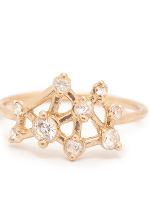 Valley Rose 14K Gold Seven Sisters Ring in White Sapphire