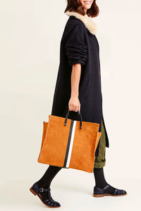 Clare Vivier Suede Tote in Camel with Black and White Stripes