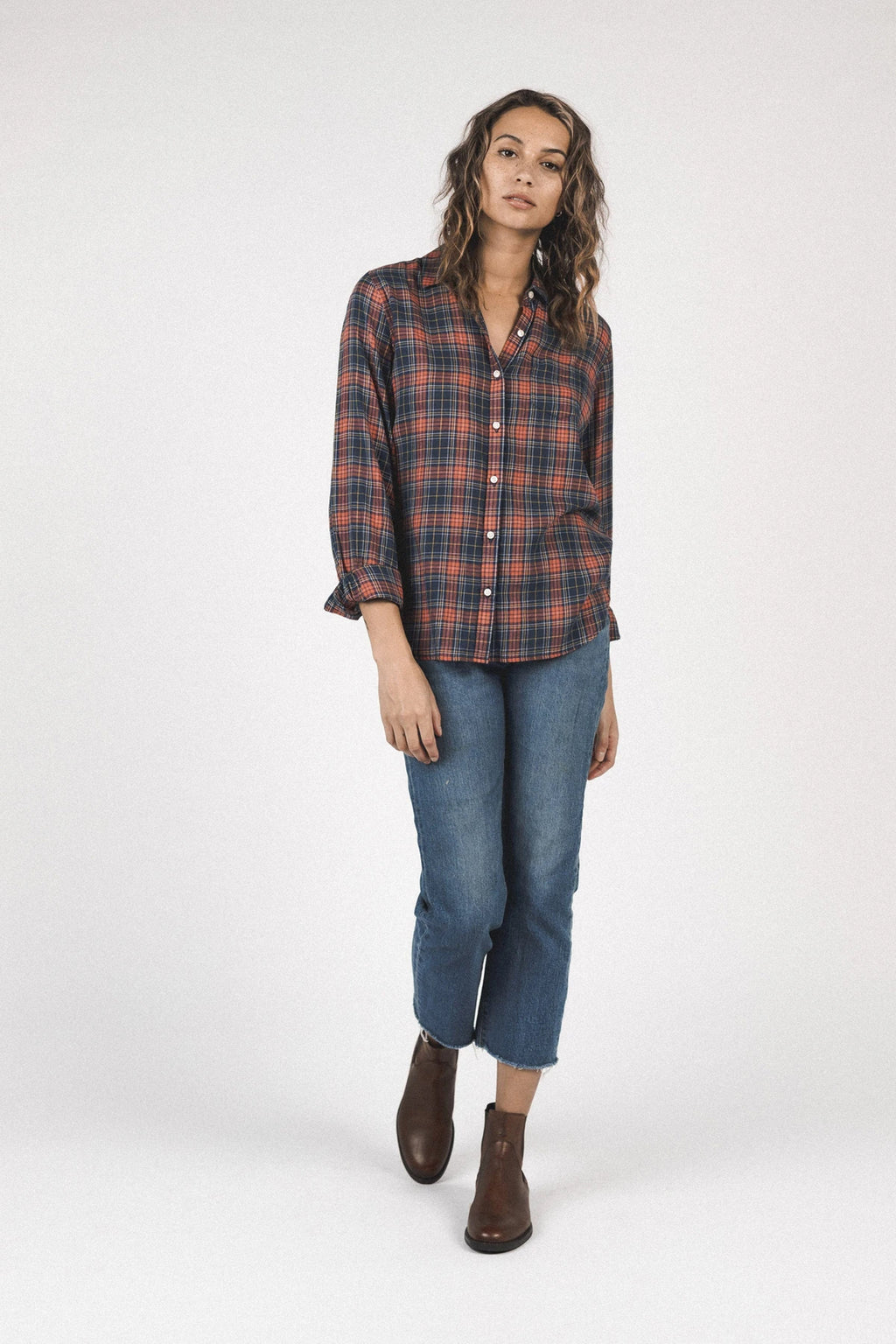 Trovata Grace Classic Shirt in Highland Plaid