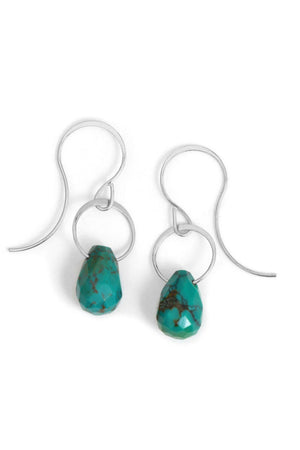 Melissa Joy Manning Limited Edition Sterling Silver with Turquiose Vein Drop Earrings