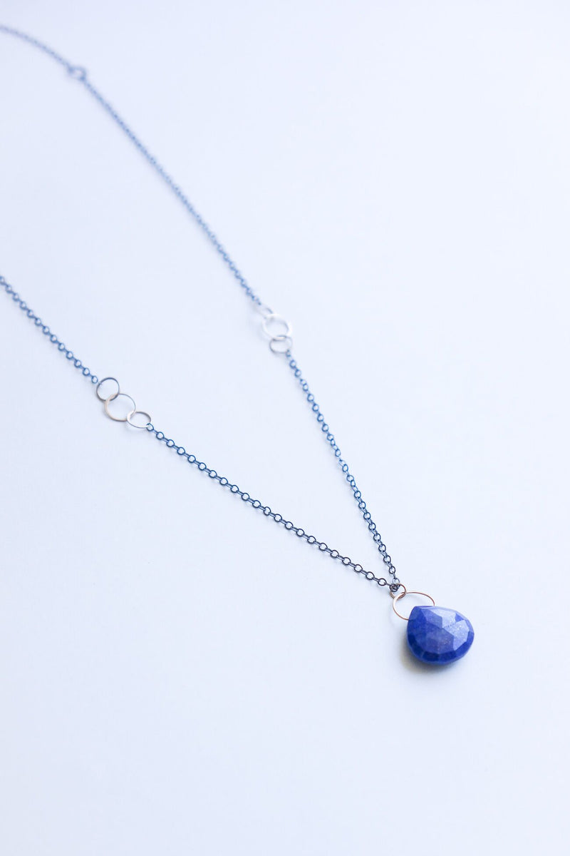 Melissa Joy Manning 14K Gold and Sterling Silver Lapis Drop Necklace