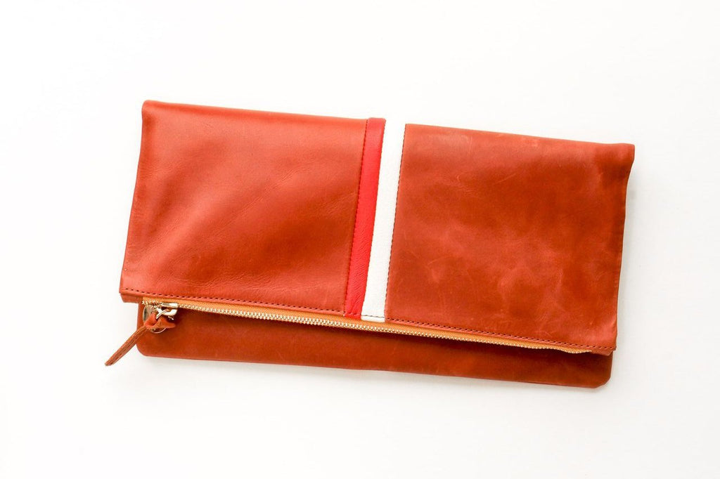 Clare Vivier Italian Cognac Leather Desert Clutch with Red and Cream Stripe