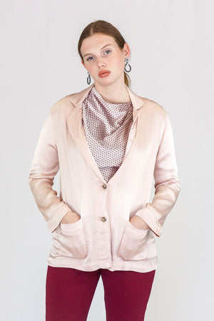 xirena Jules Satin Jacket in Rose Quartz