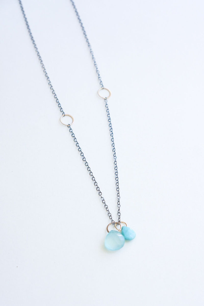 Melissa Joy Manning 14K Gold & Sterling Silver Turquoise & Blue Chalcedony Two Drop Adjustable Necklace