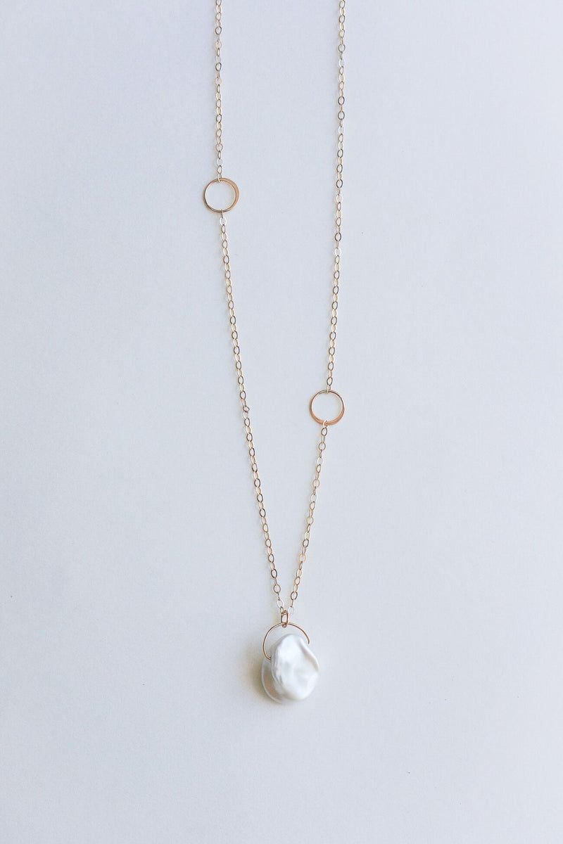 Melissa Joy Manning 14K Gold Keshi Pearl Adjustable Necklace