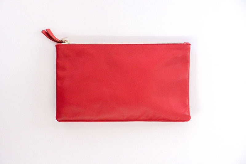 Clare Vivier Double Removable Clutch in Poppy Red Amalfi Lamb Leather