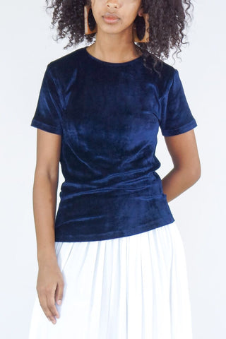 Baserange Omo Tee in Midnight Shiny Blue Velour