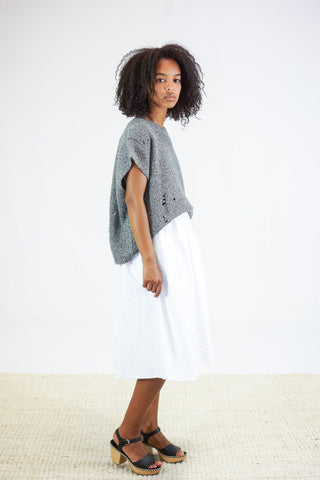 Raquel Allegra Square Vest Cable Knit Sweater in Grey Fleck