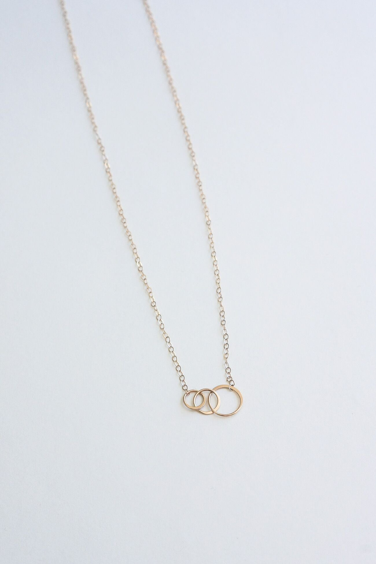 Melissa Joy Manning 14K Gold Necklace with Three Graduated Hammered Rings