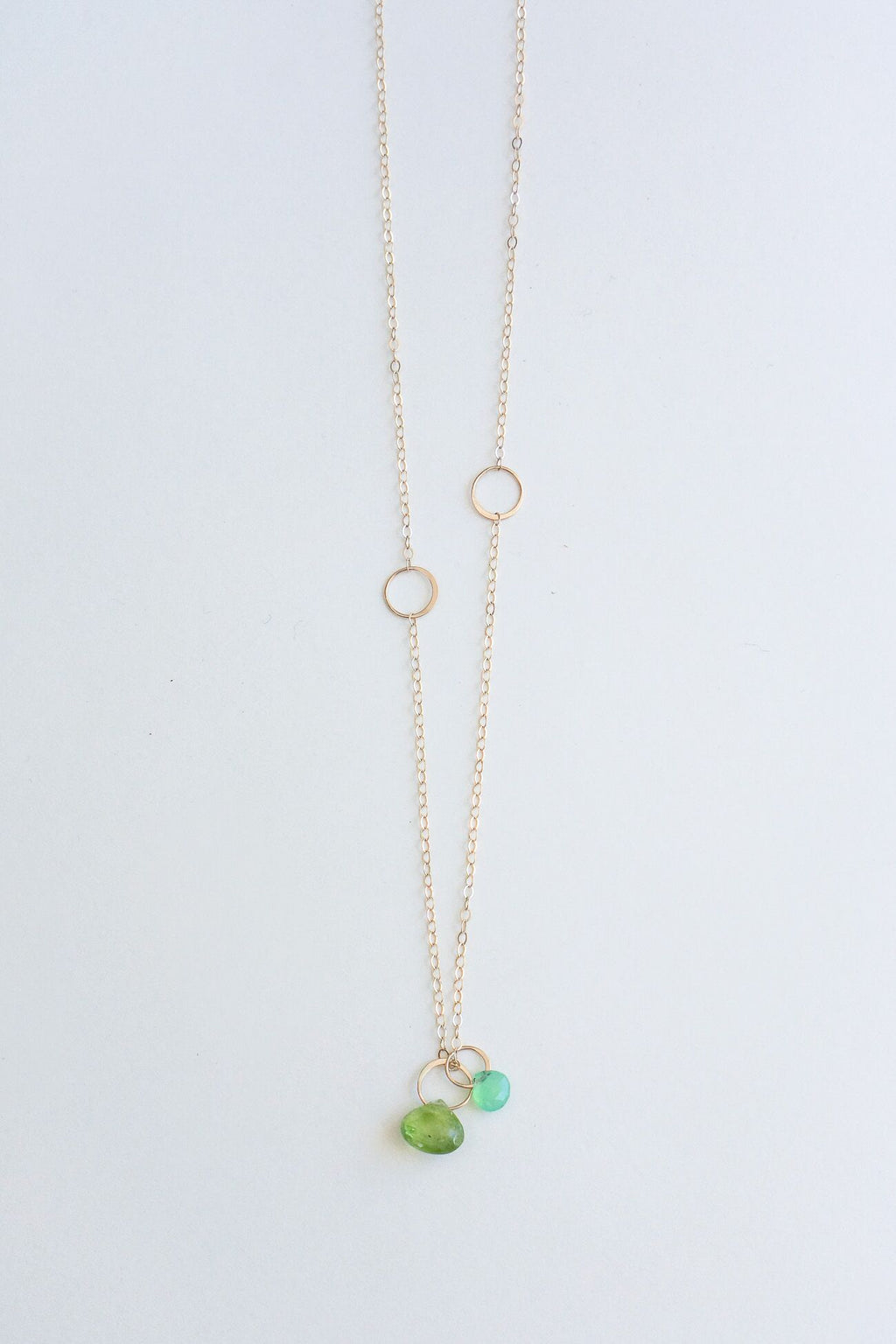 Melissa Joy Manning 14K Yellow Gold Chrysoprase & Peridot Drop Necklace