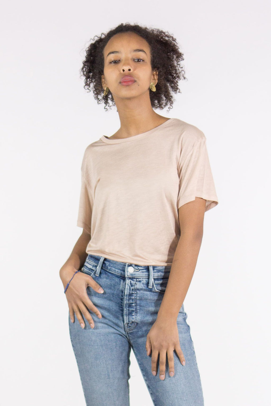 Base Range Bamboo Short Sleeve Tee Shirt in Nude