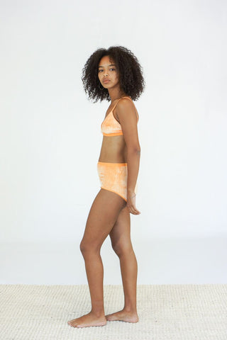 Baserange Highwaist Bell Underpants in Shiny Luteal Peach Velour