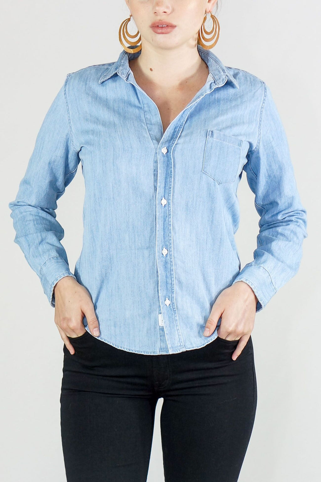 Frank and Eileen Denim Classic Blue Wash Button Up