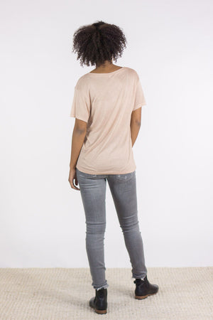 Base Range Bamboo V Neck Tee in Nude