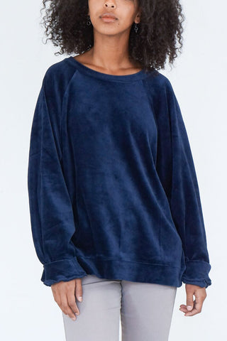 Baserange Al Sweat Velour Top in Midnight Blue