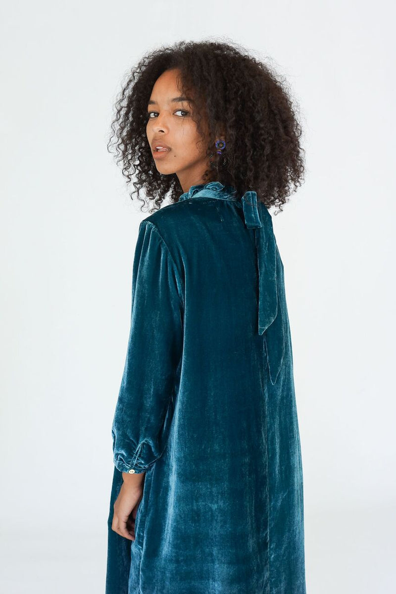Trovata The Madison High Neck Velvet Dress in Pine