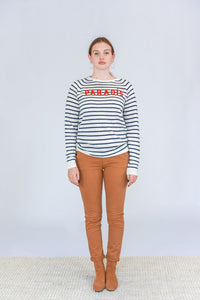 Trovata The Renee Cashmere Sweater in Paradis with Navy Stripes