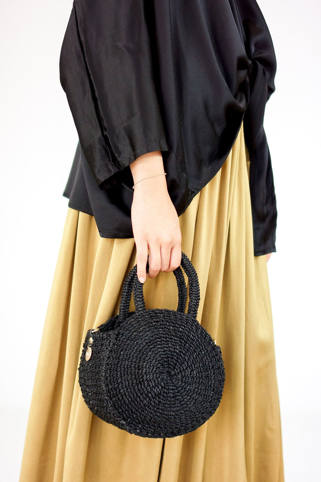 Clare Vivier Woven Petite Alice Bag in Black