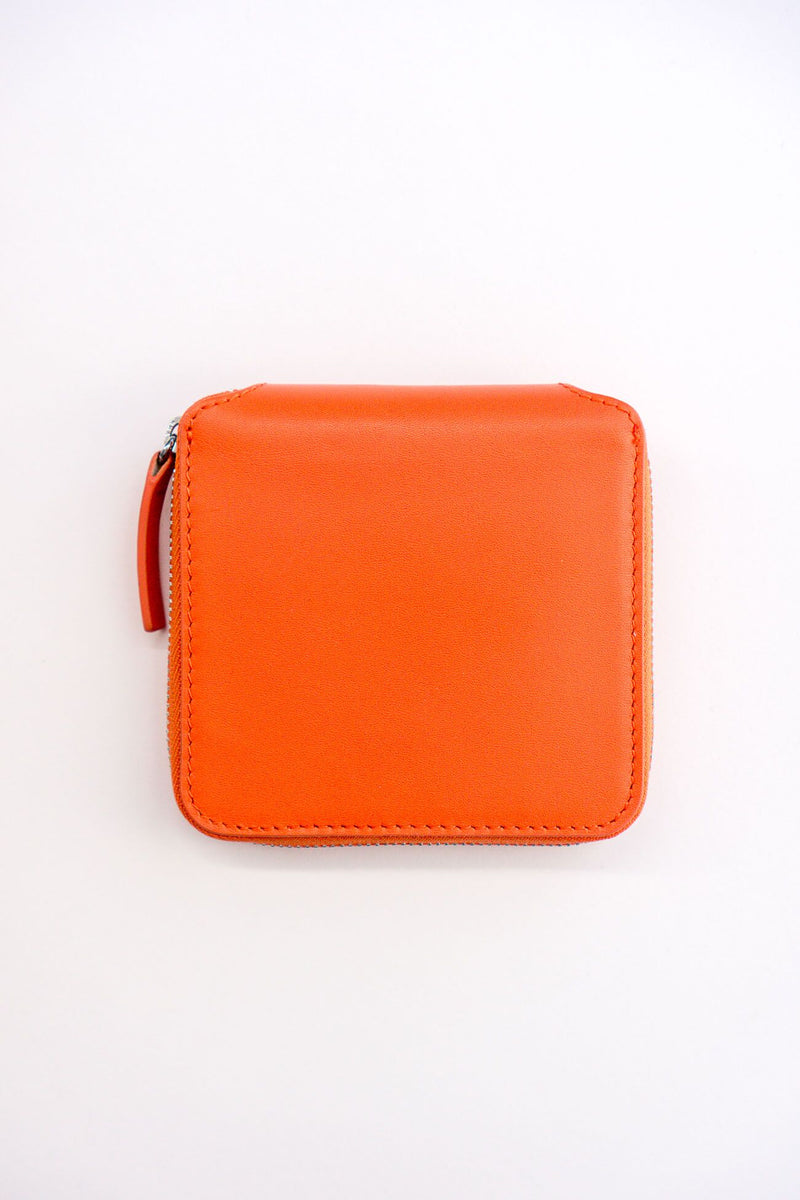 BAGGU Square Leather Wallet in Warm Red & Black