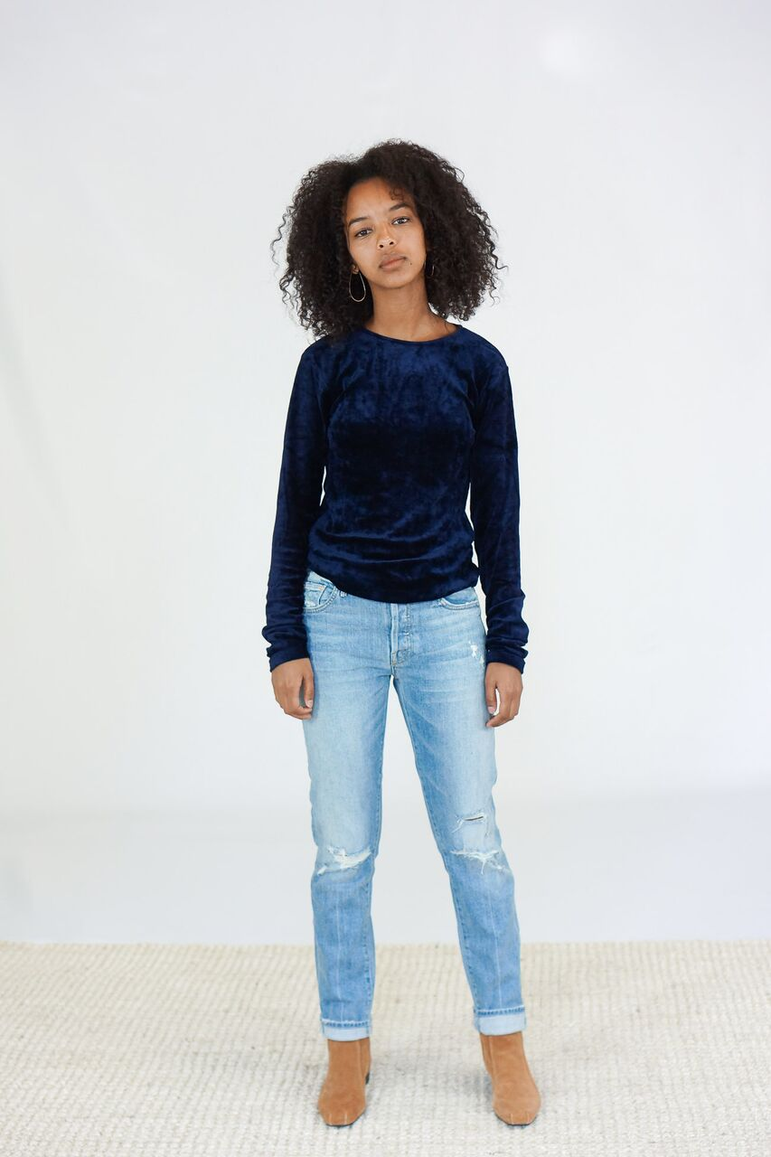 Baserange Omo Longsleeve Tee in Midnight Shiny Blue Velour