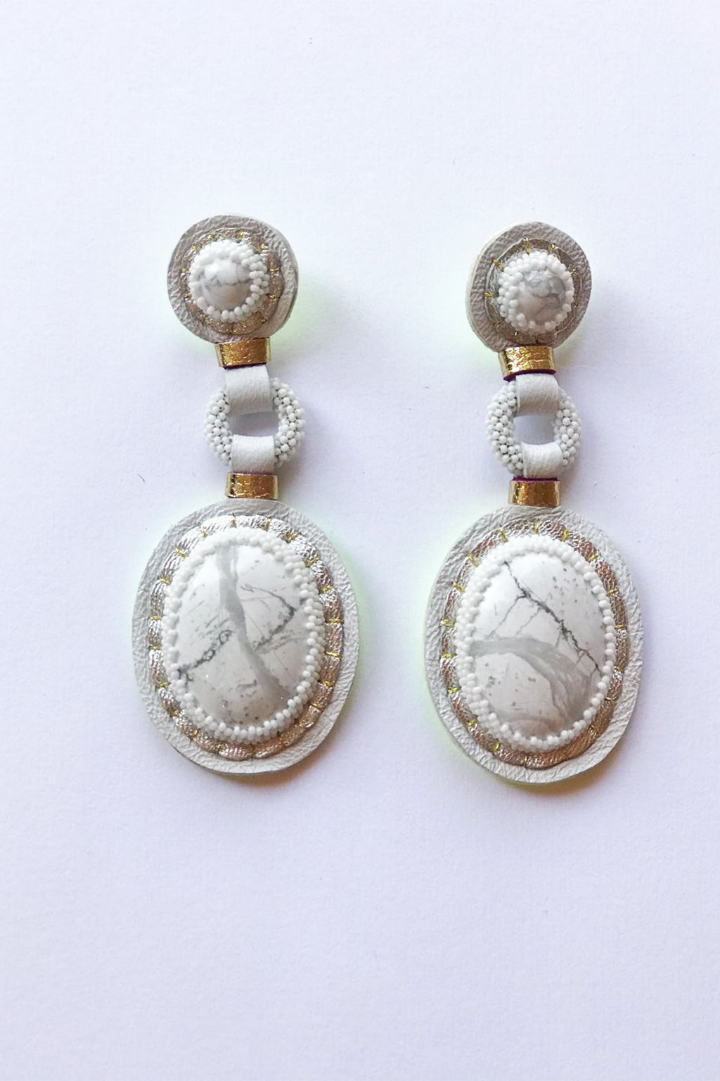 Robin Mollicone Handbeaded White Howlite Double Stone Earrings