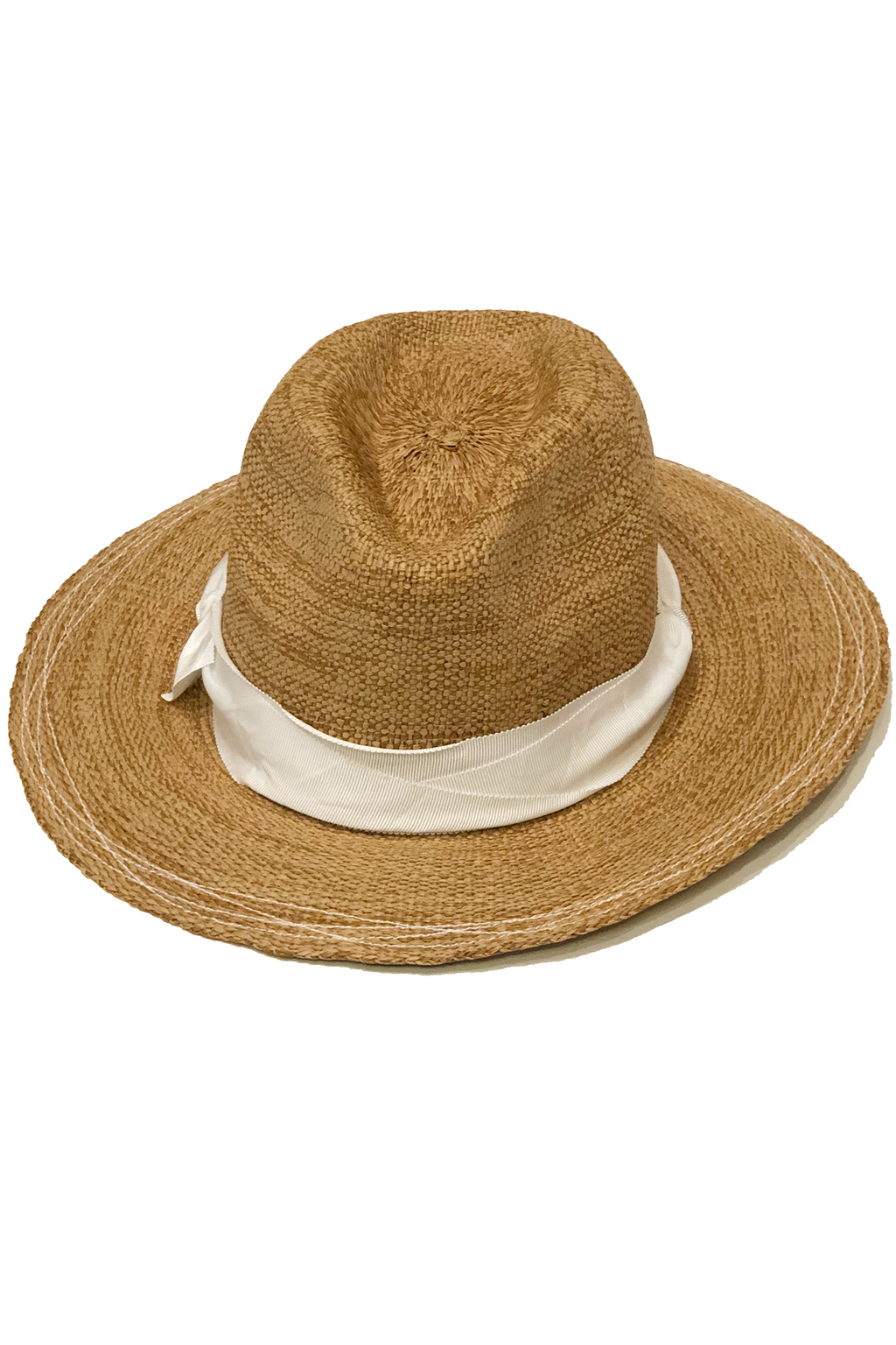Lola Ehrlich Risa and Shine Tobacco in White Straw Hat
