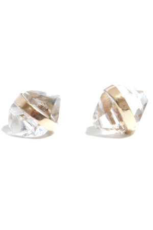 Melissa Joy Manning 14k Yellow Gold Bezel Wrap Herkimer Diamond Post Earring