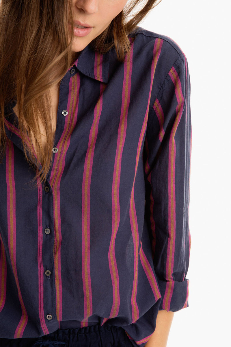 Xirena Cotton Poplin Beau Shirt in Navy Stripe