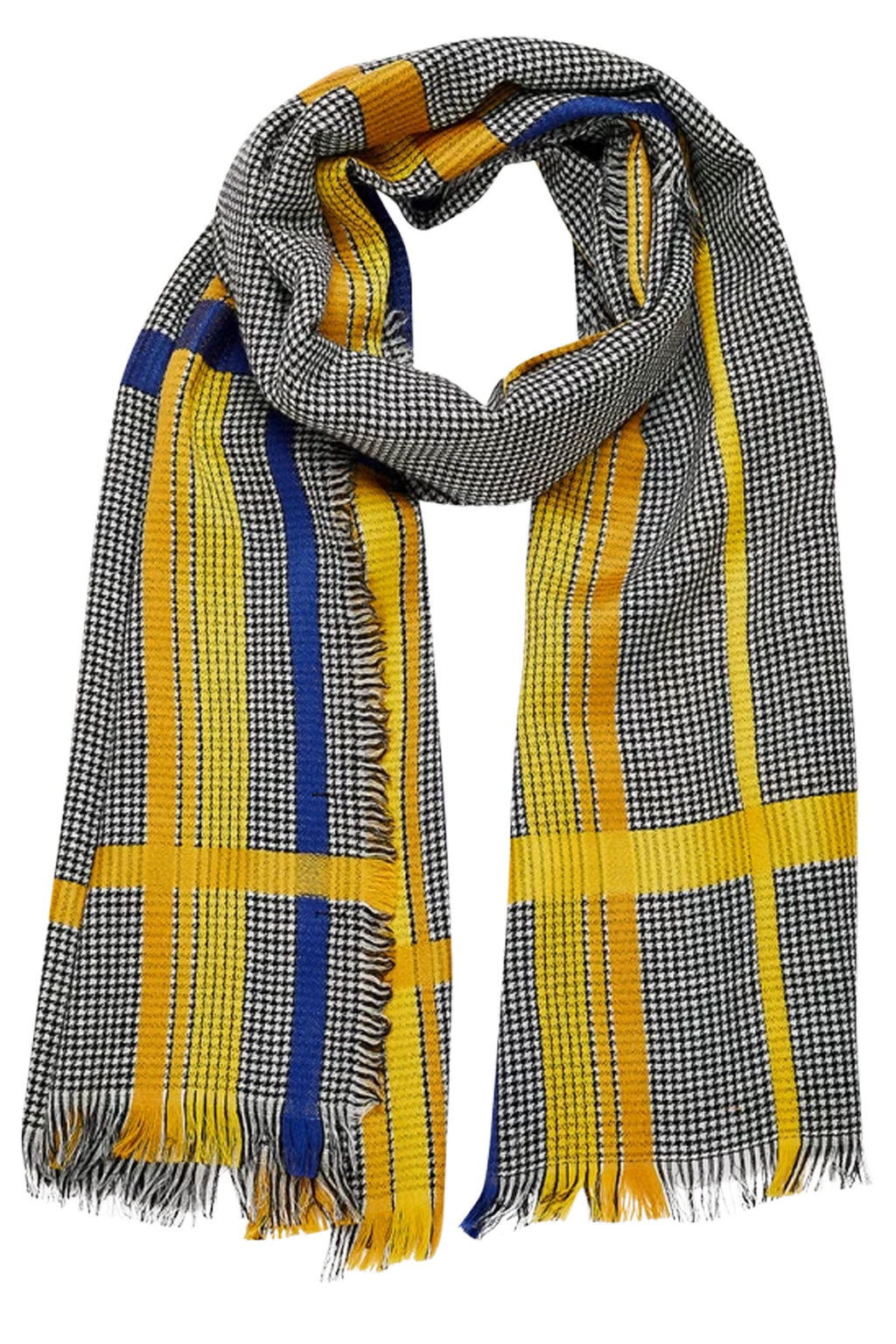 Inouitoosh Nicollo Yellow, Navy & Black Plaid Wrap