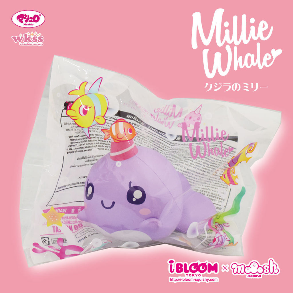 iBloom Mini Millie The Whale Squishy Roxy the Purple Whale Squishy in packaging
