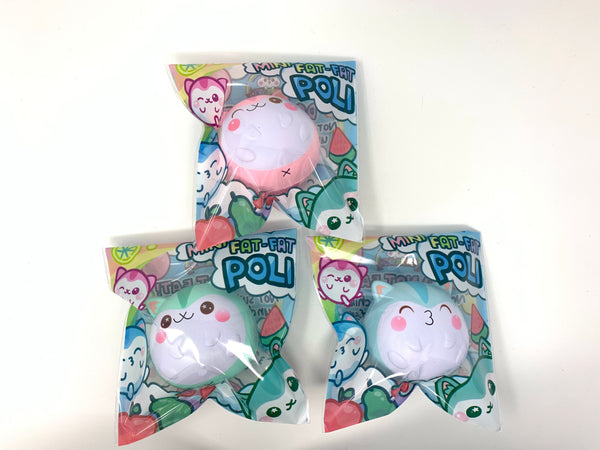 Mini Baby Poli Fat Fat Squishy all 3 versions in packaging