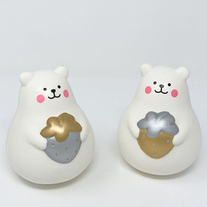 IBloom Marshmallow Bear Squishy Mr White Gold and silver version front view