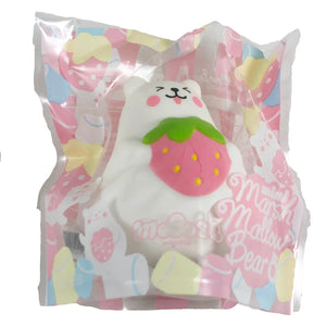 IBloom Mini Marshmallow Bear Squishy pink strawberry tongue version front view in packaging