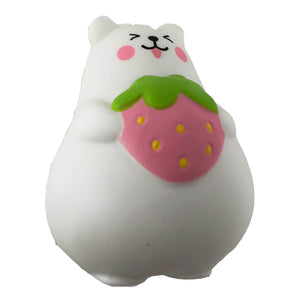 IBloom Mini Marshmallow Bear Squishy pink strawberry tongue version front view